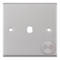 Selectric 7M-Pro Satin Chrome 1 Gang Single Aperture Dimmer Plate with Matching Knob