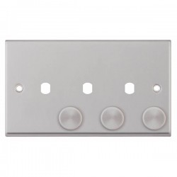 Selectric 7M-Pro Satin Chrome 2 Gang Triple Aperture Dimmer Plate with Matching Knobs