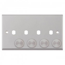 Selectric 7M-Pro Satin Chrome 2 Gang Quad Aperture Dimmer Plate with Matching Knobs