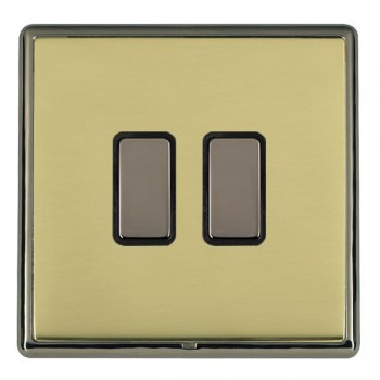 Hamilton Linea-Rondo CFX Black Nickel/Polished Brass 2 Gang Multi way Touch Master Trailing Edge with Black Insert