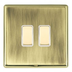 Hamilton Linea-Rondo CFX Polished Brass/Antique Brass 2 Gang Multi way Touch Master Trailing Edge with Wh...