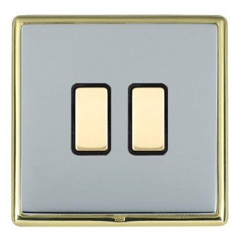 Hamilton Linea-Rondo CFX Polished Brass/Bright Steel 2 Gang Multi way Touch Master Trailing Edge with Black Insert