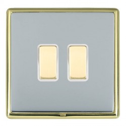 Hamilton Linea-Rondo CFX Polished Brass/Bright Steel 2 Gang Multi way Touch Master Trailing Edge with Whi...
