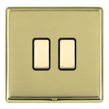 Hamilton Linea-Rondo CFX Polished Brass/Polished Brass 2 Gang Multi way Touch Master Trailing Edge with Black Insert