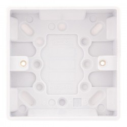 Selectric Smooth 1 Gang 25mm Surface Pattress Box with Earth