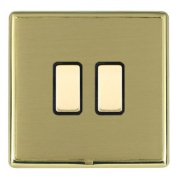 Hamilton Linea-Rondo CFX Polished Brass/Satin Brass 2 Gang Multi way Touch Master Trailing Edge with Blac...
