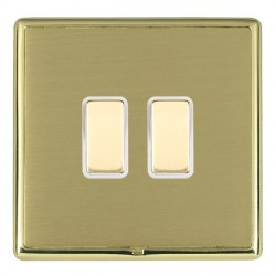 Hamilton Linea-Rondo CFX Polished Brass/Satin Brass 2 Gang Multi way Touch Master Trailing Edge with Whit...