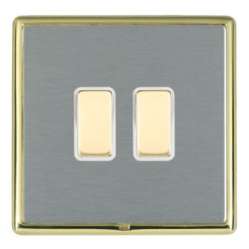 Hamilton Linea-Rondo CFX Polished Brass/Satin Steel 2 Gang Multi way Touch Master Trailing Edge with White Insert