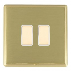 Hamilton Linea-Rondo CFX Satin Brass/Satin Brass 2 Gang Multi way Touch Master Trailing Edge with White I...