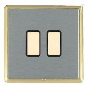 Hamilton Linea-Rondo CFX Satin Brass/Satin Steel 2 Gang Multi way Touch Master Trailing Edge with Black I...