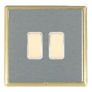 Hamilton Linea-Rondo CFX Satin Brass/Satin Steel 2 Gang Multi way Touch Master Trailing Edge with White I...