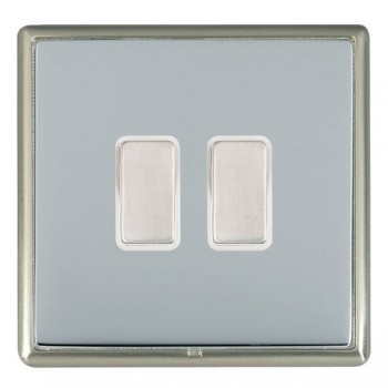Hamilton Linea-Rondo CFX Satin Nickel/Bright Steel 2 Gang Multi way Touch Master Trailing Edge with White Insert