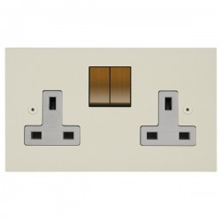 Focus SB Horizon Square Corners NHPW18.2W/BA 2 Gang 13A Switched Socket in Primed White with White Insert, Bronze Antique Switches