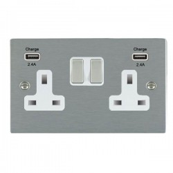 Hamilton Sheer Satin Steel 2 Gang 13A DP Switched Socket with 2x2.4A USB Outlet and White Insert