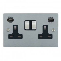 Hamilton Sheer Satin Chrome 2 Gang 13A DP Switched Socket with 2x2.4A USB Outlet and Black Insert