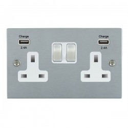 Hamilton Sheer Satin Chrome 2 Gang 13A DP Switched Socket with 2x2.4A USB Outlet and White Insert