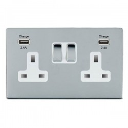 Hamilton Sheer CFX Bright Chrome 2 Gang 13A DP Switched Socket with 2x2.4A USB Outlet and White Insert