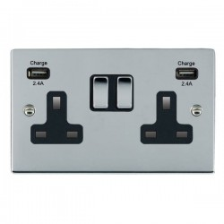 Hamilton Sheer Bright Chrome 2 Gang 13A DP Switched Socket with 2x2.4A USB Outlet and Black Insert