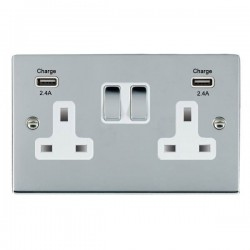 Hamilton Sheer Bright Chrome 2 Gang 13A DP Switched Socket with 2x2.4A USB Outlet and White Insert