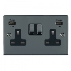 Hamilton Sheer Black Nickel 2 Gang 13A DP Switched Socket with 2x2.4A USB Outlet and Black Insert