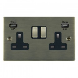Hamilton Sheer Antique Brass 2 Gang 13A DP Switched Socket with 2x2.4A USB Outlet and Black Insert