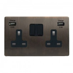 Hamilton Sheer CFX Etrium Bronze 2 Gang 13A DP Switched Socket with 2x2.4A USB Outlet and Black Insert