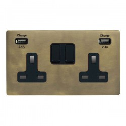 Hamilton Sheer CFX Connaught Bronze 2 Gang 13A DP Switched Socket with 2x2.4A USB Outlet and Black Insert