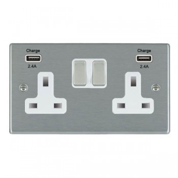 Hamilton Hartland Satin Steel 2 Gang 13A DP Switched Socket with 2x2.4A USB Outlet and White Insert