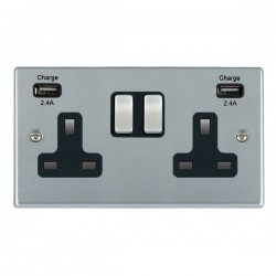 Hamilton Hartland Satin Chrome 2 Gang 13A DP Switched Socket with 2x2.4A USB Outlet and Black Insert