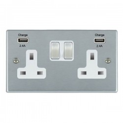 Hamilton Hartland Satin Chrome 2 Gang 13A DP Switched Socket with 2x2.4A USB Outlet and White Insert