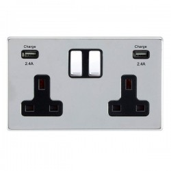 Hamilton Hartland CFX Bright Chrome 2 Gang 13A DP Switched Socket with 2x2.4A USB Outlet and Black Insert