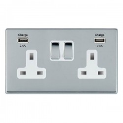 Hamilton Hartland CFX Bright Chrome 2 Gang 13A DP Switched Socket with 2x2.4A USB Outlet and White Insert