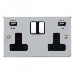 Hamilton Hartland Bright Chrome 2 Gang 13A DP Switched Socket with 2x2.4A USB Outlet and Black Insert
