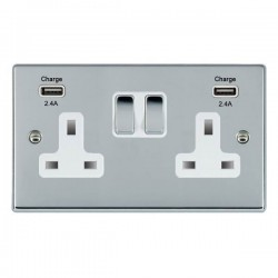 Hamilton Hartland Bright Chrome 2 Gang 13A DP Switched Socket with 2x2.4A USB Outlet and White Insert