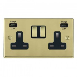 Hamilton Hartland Polished Brass 2 Gang 13A DP Switched Socket with 2x2.4A USB Outlet and Black Insert