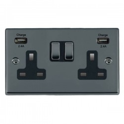 Hamilton Hartland Black Nickel 2 Gang 13A DP Switched Socket with 2x2.4A USB Outlet and Black Insert