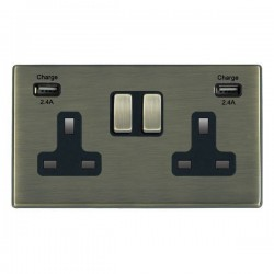 Hamilton Hartland CFX Antique Brass 2 Gang 13A DP Switched Socket with 2x2.4A USB Outlet and Black Insert