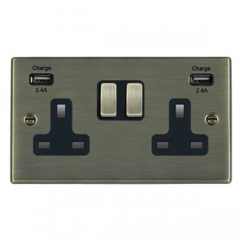 Hamilton Hartland Antique Brass 2 Gang 13A DP Switched Socket with 2x2.4A USB Outlet and Black Insert