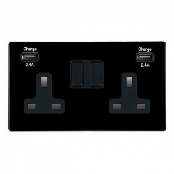 Hamilton Hartland CFX Black 2 Gang 13A DP Switched Socket with 2x2.4A USB Outlet and Black Insert