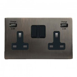 Hamilton Hartland CFX Etrium Bronze 2 Gang 13A DP Switched Socket with 2x2.4A USB Outlet and Black Insert