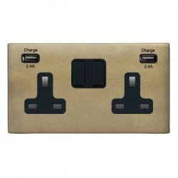 Hamilton Hartland CFX Connaught Bronze 2 Gang 13A DP Switched Socket with 2x2.4A USB Outlet and Black Insert