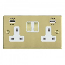 Hamilton Hartland Polished Brass 2 Gang 13A DP Switched Socket with 2x2.4A USB Outlet and White Insert