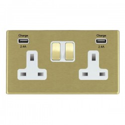 Hamilton Hartland CFX Satin Brass 2 Gang 13A DP Switched Socket with 2x2.4A USB Outlet and White Insert