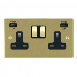 Hamilton Hartland Satin Brass 2 Gang 13A DP Switched Socket with 2x2.4A USB Outlet and Black Insert