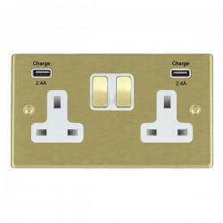 Hamilton Hartland Satin Brass 2 Gang 13A DP Switched Socket with 2x2.4A USB Outlet and White Insert