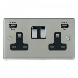 Hamilton Hartland Bright Steel 2 Gang 13A DP Switched Socket with 2x2.4A USB Outlet and Black Insert