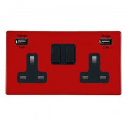 Hamilton Hartland CFX Red 2 Gang 13A DP Switched Socket with 2x2.4A USB Outlet and Black Insert