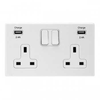 Hamilton Hartland CFX White 2 Gang 13A DP Switched Socket with 2x2.4A USB Outlet and White Insert