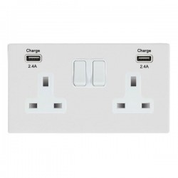 Hamilton Sheer CFX Gloss White 2 Gang 13A DP Switched Socket with 2x2.4A USB Outlet and White Insert