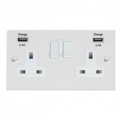 Hamilton Sheer Gloss White 2 Gang 13A DP Switched Socket with 2x2.4A USB Outlet and White Insert